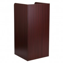 Flash Furniture MT-M8520-TRA-MAH-GG Wood Tray Top Mahogany Finish Trash Receptacle addl-1