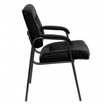 Flash Furniture BT-1404-BKGY-GG Black Leather Executive Side Chair with Titanium Frame Finish addl-1