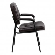 Flash Furniture BT-1404-BN-GG Brown Leather Guest / Reception Chair with Black Frame Finish addl-1