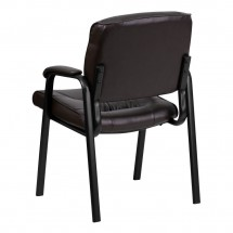 Flash Furniture BT-1404-BN-GG Brown Leather Guest / Reception Chair with Black Frame Finish addl-2