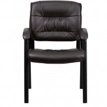 Flash Furniture BT-1404-BN-GG Brown Leather Guest / Reception Chair with Black Frame Finish addl-3