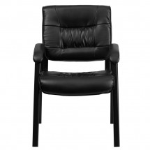 Flash Furniture BT-1404-GG Black Leather Guest / Reception Chair with Black Frame Finish addl-3