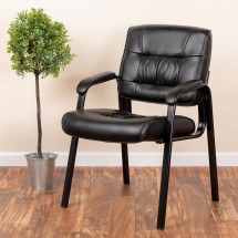 Flash Furniture BT-1404-GG Black Leather Guest / Reception Chair with Black Frame Finish addl-4