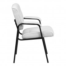 Flash Furniture BT-1404-WH-GG White Leather Guest / Reception Chair with Black Frame Finish addl-1
