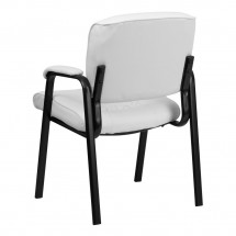 Flash Furniture BT-1404-WH-GG White Leather Guest / Reception Chair with Black Frame Finish addl-2