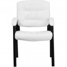 Flash Furniture BT-1404-WH-GG White Leather Guest / Reception Chair with Black Frame Finish addl-3
