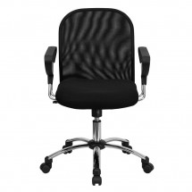 Flash Furniture BT-215-GG Mid-Back Black Mesh Task Chair with Chrome Base addl-3
