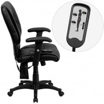 Flash Furniture BT-2770P-GG Mid-Back Massaging Black Leather Executive Office Chair addl-1