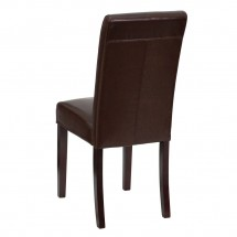 Flash Furniture BT-350-BRN-LEA-008-GG Dark Brown Leather Upholstered Parsons Chair addl-2