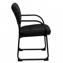Flash Furniture BT-510-LEA-BK-GG Black Leather Executive Side Chair with Sled Base addl-1