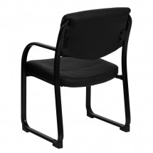 Flash Furniture BT-510-LEA-BK-GG Black Leather Executive Side Chair with Sled Base addl-2