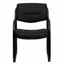 Flash Furniture BT-510-LEA-BK-GG Black Leather Executive Side Chair with Sled Base addl-3