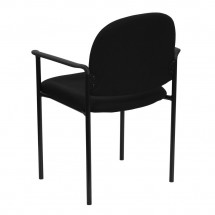 Flash Furniture BT-516-1-BK-GG Black Fabric Comfortable Stackable Steel Side Chair with Arms addl-2