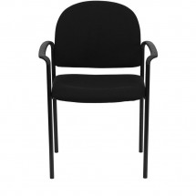 Flash Furniture BT-516-1-BK-GG Black Fabric Comfortable Stackable Steel Side Chair with Arms addl-3