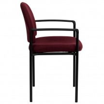 Flash Furniture BT-516-1-BY-GG Burgundy Fabric Comfortable Stackable Steel Side Chair with Arms addl-1