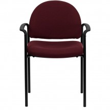 Flash Furniture BT-516-1-BY-GG Burgundy Fabric Comfortable Stackable Steel Side Chair with Arms addl-3