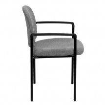 Flash Furniture BT-516-1-GY-GG Gray Fabric Comfortable Stackable Steel Side Chair with Arms addl-1