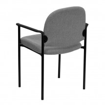 Flash Furniture BT-516-1-GY-GG Gray Fabric Comfortable Stackable Steel Side Chair with Arms addl-2