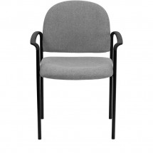 Flash Furniture BT-516-1-GY-GG Gray Fabric Comfortable Stackable Steel Side Chair with Arms addl-3