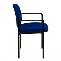 Flash Furniture BT-516-1-NVY-GG Navy Fabric Comfortable Stackable Steel Side Chair with Arms addl-1