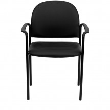 Flash Furniture BT-516-1-VINYL-GG Black Vinyl Comfortable Stackable Steel Side Chair with Arms addl-3