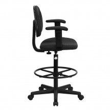 Flash Furniture BT-659-BLK-ARMS-GG Black Patterned Fabric Ergonomic Drafting Stool with Arms addl-1
