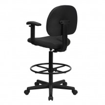 Flash Furniture BT-659-BLK-ARMS-GG Black Patterned Fabric Ergonomic Drafting Stool with Arms addl-2