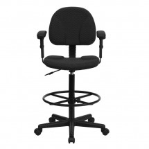 Flash Furniture BT-659-BLK-ARMS-GG Black Patterned Fabric Ergonomic Drafting Stool with Arms addl-3