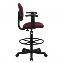 Flash Furniture BT-659-BY-ARMS-GG Burgundy Fabric Ergonomic Drafting Stool with Arms addl-1