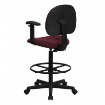 Flash Furniture BT-659-BY-ARMS-GG Burgundy Fabric Ergonomic Drafting Stool with Arms addl-2