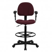 Flash Furniture BT-659-BY-ARMS-GG Burgundy Fabric Ergonomic Drafting Stool with Arms addl-3