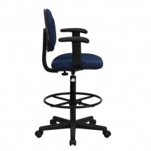 Flash Furniture BT-659-NVY-ARMS-GG Navy Blue Patterned Fabric Ergonomic Drafting Stool with Arms addl-1