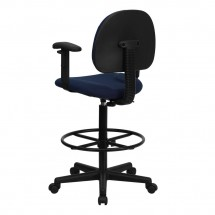Flash Furniture BT-659-NVY-ARMS-GG Navy Blue Patterned Fabric Ergonomic Drafting Stool with Arms addl-2