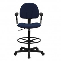Flash Furniture BT-659-NVY-ARMS-GG Navy Blue Patterned Fabric Ergonomic Drafting Stool with Arms addl-3