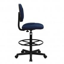 Flash Furniture BT-659-NVY-GG Navy Blue Patterned Fabric Ergonomic Drafting Stool addl-1