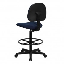 Flash Furniture BT-659-NVY-GG Navy Blue Patterned Fabric Ergonomic Drafting Stool addl-2