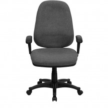Flash Furniture BT-661-GR-GG High Back Gray Fabric Executive Chair with Height Adjustable Arms addl-3