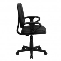 Flash Furniture BT-682-BK-GG Mid-Back Black Leather Ergonomic Task Chair with Arms addl-1