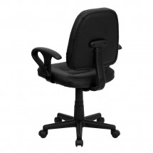 Flash Furniture BT-682-BK-GG Mid-Back Black Leather Ergonomic Task Chair with Arms addl-2