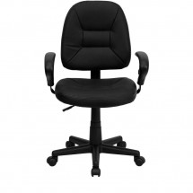 Flash Furniture BT-682-BK-GG Mid-Back Black Leather Ergonomic Task Chair with Arms addl-3