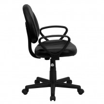 Flash Furniture BT-688-BK-A-GG Mid-Back Black Leather Ergonomic Task Chair with Arms addl-1