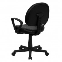 Flash Furniture BT-688-BK-A-GG Mid-Back Black Leather Ergonomic Task Chair with Arms addl-2