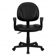 Flash Furniture BT-688-BK-A-GG Mid-Back Black Leather Ergonomic Task Chair with Arms addl-3