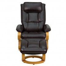 Flash Furniture BT-7615-BN-CURV-GG Contemporary Brown Leather Recliner and Ottoman with Swiveling Maple Wood Base addl-3