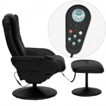 Flash Furniture BT-7672-MASSAGE-BK-GG Massaging Black Leather Recliner and Ottoman with Leather Wrapped Base addl-1