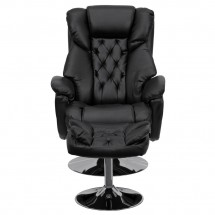 Flash Furniture BT-7807-TRAD-GG Transitional Black Leather Recliner and Ottoman with Chrome Base addl-3