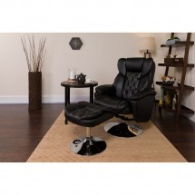 Flash Furniture BT-7807-TRAD-GG Transitional Black Leather Recliner and Ottoman with Chrome Base addl-5