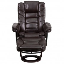 Flash Furniture BT-7818-BN-GG Contemporary Brown Leather Recliner and Ottoman with Swiveling Mahogany Wood Base addl-3