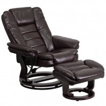 Flash Furniture BT-7818-BN-GG Contemporary Brown Leather Recliner and Ottoman with Swiveling Mahogany Wood Base addl-4
