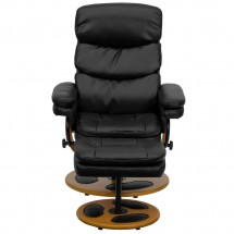 Flash Furniture BT-7828-PILLOW-GG Contemporary Black Leather Recliner and Ottoman with Wood Base addl-3